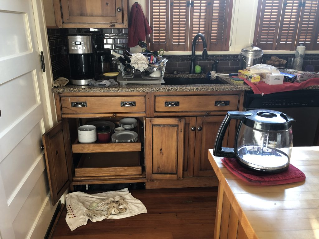 Vulnerability: Messy kitchen with spilled coffee